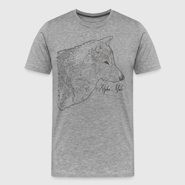 Alpha Male Grey Wolf Head Art  - Men's Premium T-Shirt