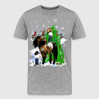 A Horse and Kid Christmas - Men's Premium T-Shirt