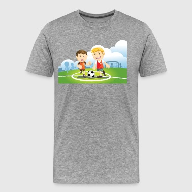 Two boys play soccer on a field - Men's Premium T-Shirt