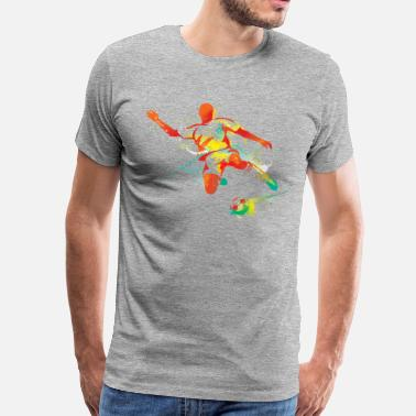 5ddc5b8586ae Abstract soccer player about to kick the ball - Men s Premium T-Shirt
