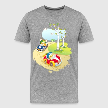 Cute animal car racing - Men's Premium T-Shirt