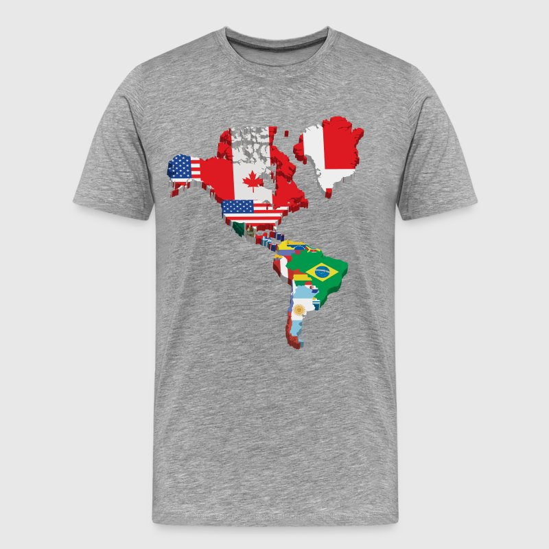 South America and North America continents flags - Men's Premium T-Shirt