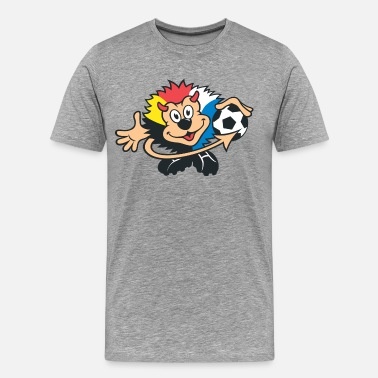 Footballers Cartoon Bear with football cartoon - Men's Premium T-Shirt
