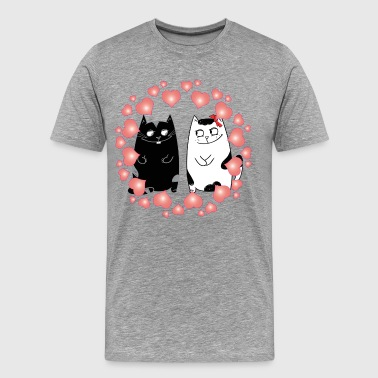Valentine love cats art - Men's Premium T-Shirt