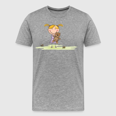 Cartoon girl with stuffed animal in field - Men's Premium T-Shirt