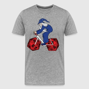 wizard riding bike with 20 sided dice wheels - Men's Premium T-Shirt