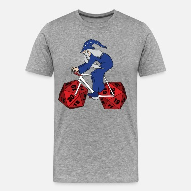 20 Sided Dice wizard riding bike with 20 sided dice wheels - Men's Premium T-Shirt