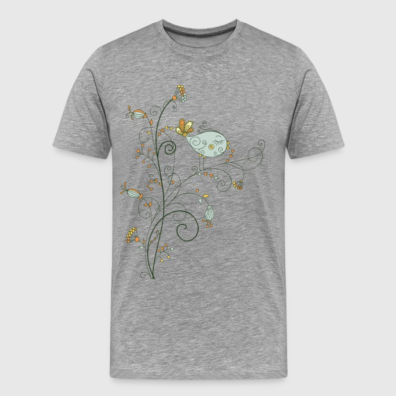 Leaves birds background art - Men's Premium T-Shirt