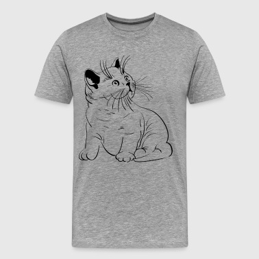 Cat pencil drawing - Men's Premium T-Shirt