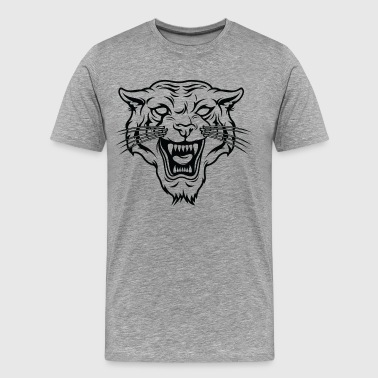 Angry tiger silhouette head - Men's Premium T-Shirt