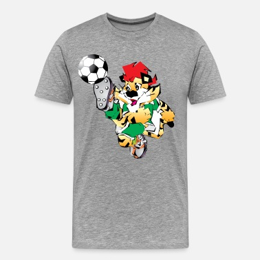 Footballers Cartoon Cartoon tiger playing football - Men's Premium T-Shirt