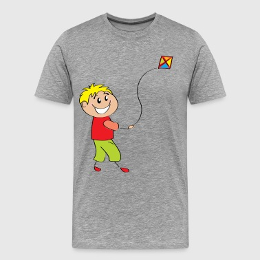 Cartoon child flying kite - Men's Premium T-Shirt