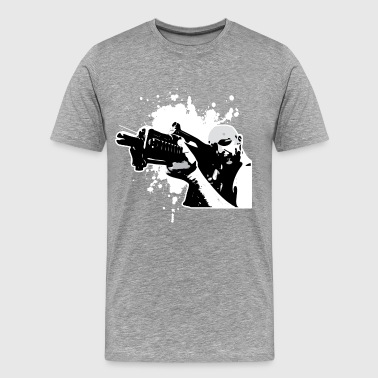 Man holding gun art - Men's Premium T-Shirt