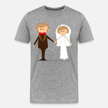 Wedding Cartoon Cartoon style wedding couple - Men's Premium T-Shirt