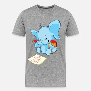 Cute Animal Cute animal elephant painting - Men's Premium T-Shirt