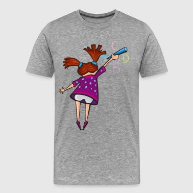 Girl writing on board - Men's Premium T-Shirt