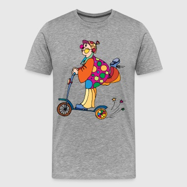 Kid Cycling Clown riding a kids cycle - Men's Premium T-Shirt