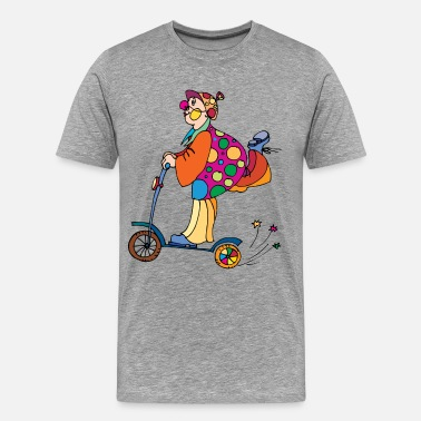 Ride Kids Clown riding a kids cycle - Men's Premium T-Shirt