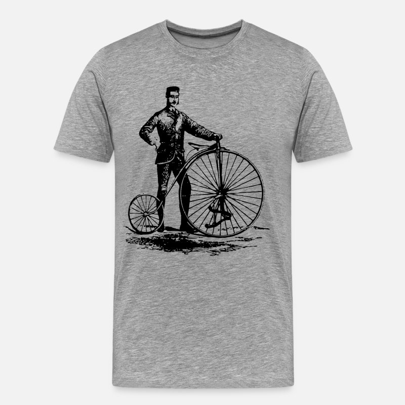 Bestsellers Q4 2018 T-Shirts - Antique bicycle design art - Men's Premium T-Shirt heather gray
