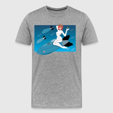 Girl on space rocket - Men's Premium T-Shirt