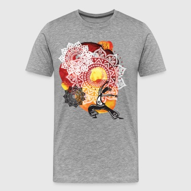 Ethnic watercolor with yoga background - Men's Premium T-Shirt