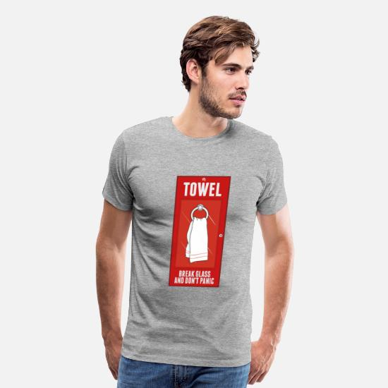 Guide T-Shirts - Towel Break Glass and Dont Panic - Men's Premium T-Shirt heather gray