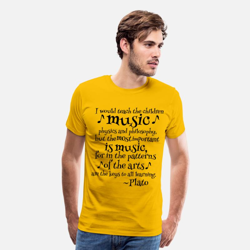 Plato Music Philosophy Quote Men's Premium T-Shirt - sun yellow