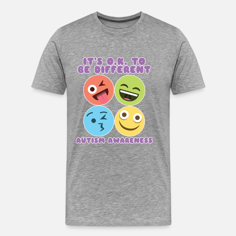 Autism Awareness T-Shirts - IT'S OK TO BE DIFFERENT - Men's Premium T-Shirt heather gray