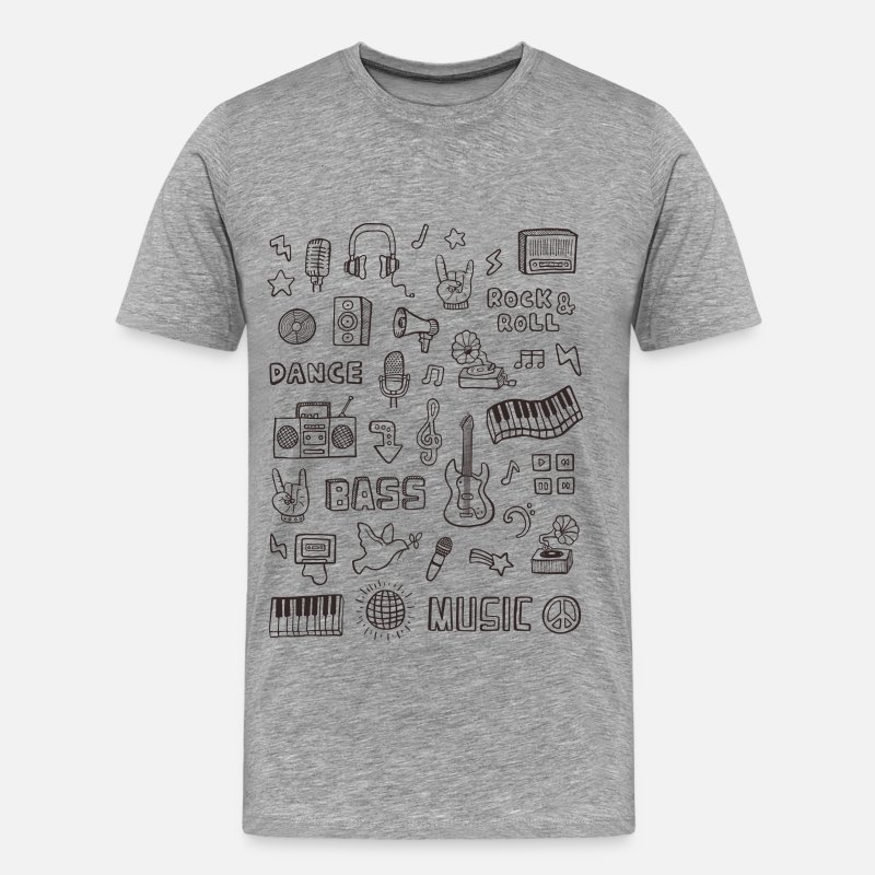 Bass T-Shirts - Retro Music Doodle - Men's Premium T-Shirt heather gray