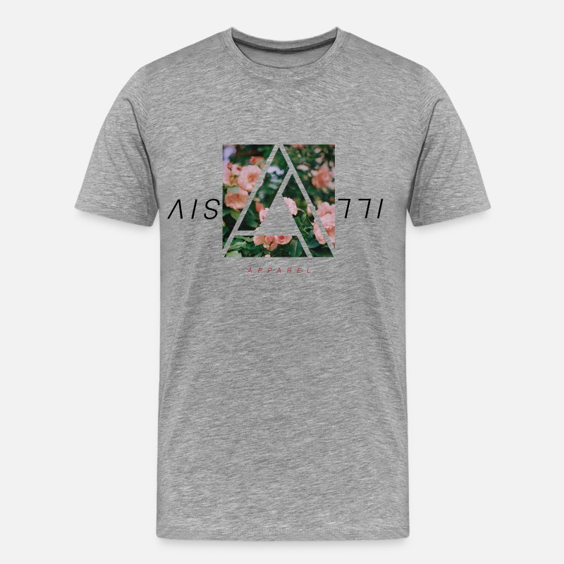 Floral T-Shirts - Illusive Floral Tee | Heather Grey - Men's Premium T-Shirt heather gray