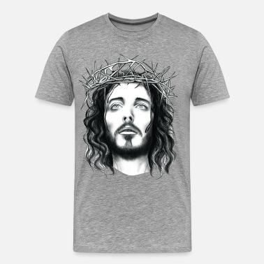 Christian Designs jesus with crown of thorn - Men's Premium T-Shirt