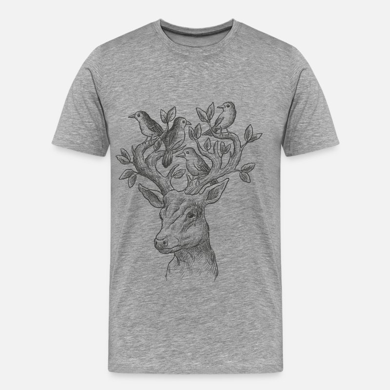 Illustration T-Shirts - Deer, Illustration, Design, Wildlife, Style - Men's Premium T-Shirt heather gray
