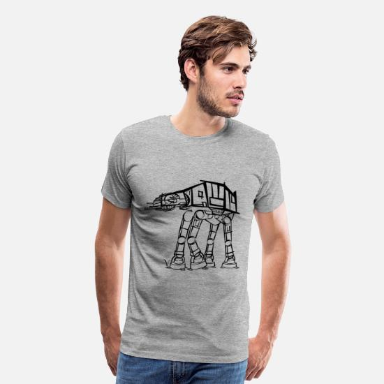 Geek T-Shirts - AT-AT Imperial Walker [Artist Rendering]  - Men's Premium T-Shirt heather gray