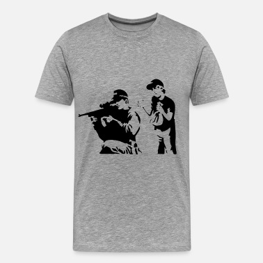 Graffiti Banksy Sniper and Child - Men's Premium T-Shirt