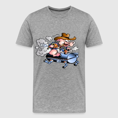 pig smoking on bbq grill - Men's Premium T-Shirt