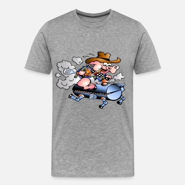 Bbq Smoking pig smoking on bbq grill - Men's Premium T-Shirt