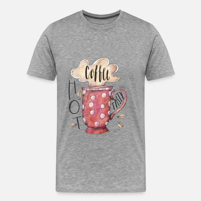 Coffee T-shirt T-Shirts - Coffee - Hot Coffee - Men's Premium T-Shirt heather gray