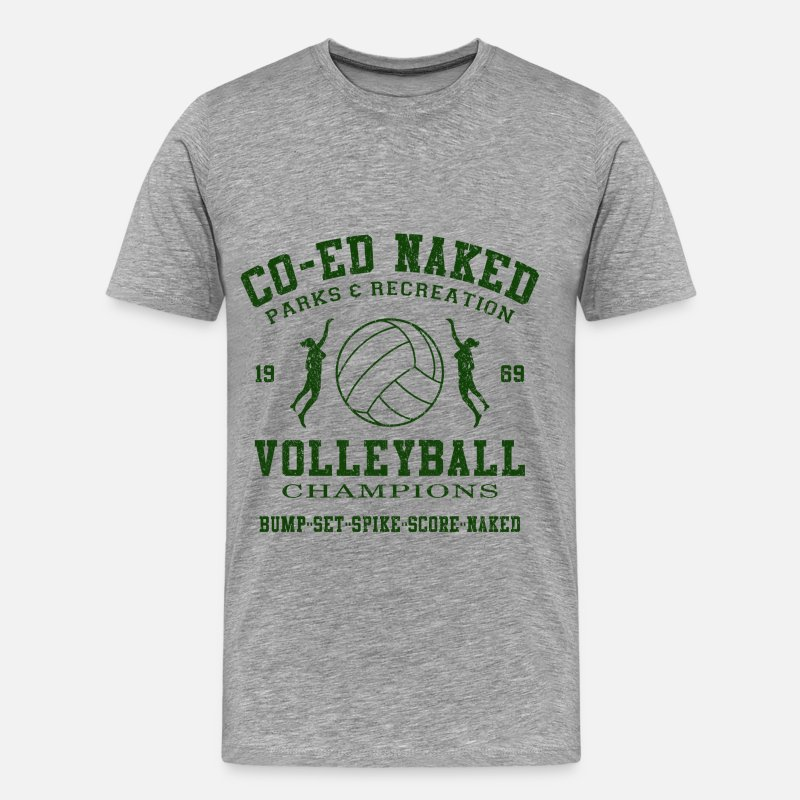 Volleyball T-Shirts - CO-ED Naked Volleyball - Men's Premium T-Shirt heather gray