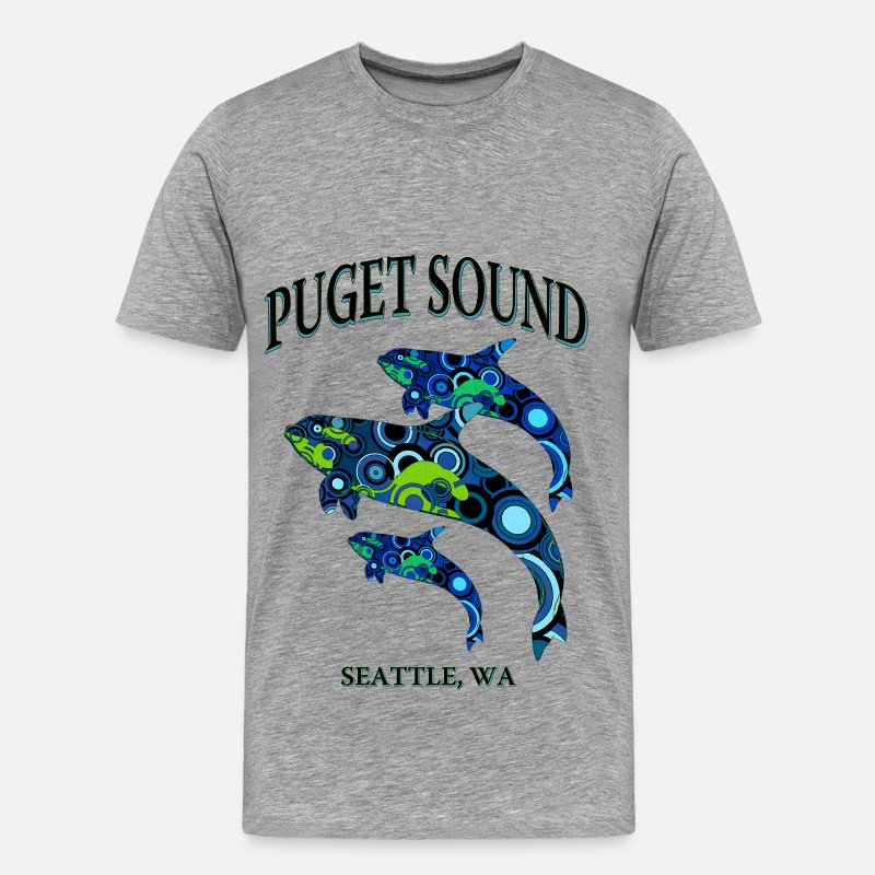 Killer Whale T-Shirts - Puget Sound-Seattle - Men's Premium T-Shirt heather gray