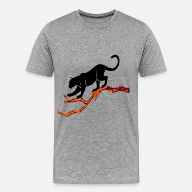 Panther panther on branch - Men's Premium T-Shirt