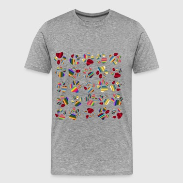 Colorful Paw Prints Pattern Background Reinvigora - Men's Premium T-Shirt