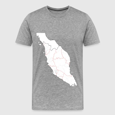 Blank map of Peninsular Malaysia (fixed and updated, with southern Thailand) - Men's Premium T-Shirt