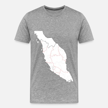Malaysia Blank map of Peninsular Malaysia (fixed and updated, with southern Thailand) - Men's Premium T-Shirt