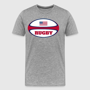 American Flag Rugby Ball - Men's Premium T-Shirt
