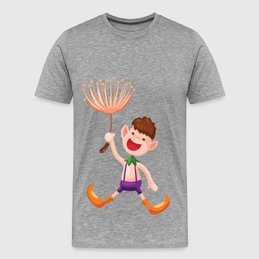 Cartoon child with flower - Men's Premium T-Shirt