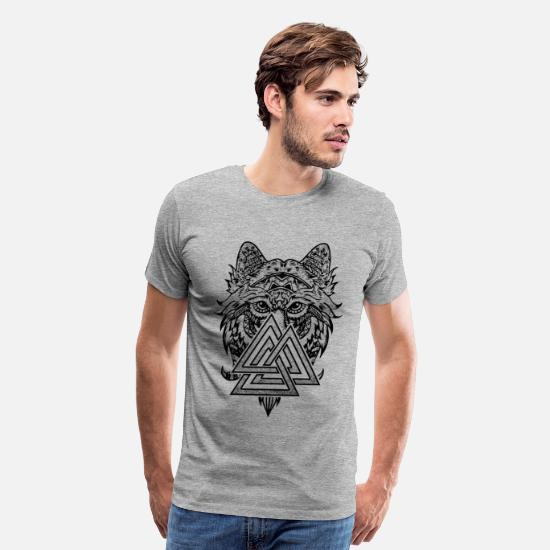 Valknut T-Shirts - Valknut Symbol and wolf - Men's Premium T-Shirt heather gray