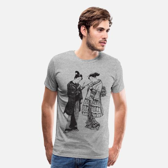 Samurai T-Shirts - Geisha - Japan - Asian - Men's Premium T-Shirt heather gray