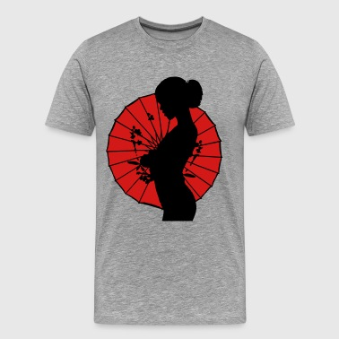 Japan Umbrella Geisha - sexy women silhouette - Men's Premium T-Shirt