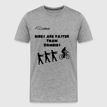 Cycling T Shirt - Bike's are Faster than Zombies - Men's Premium T-Shirt