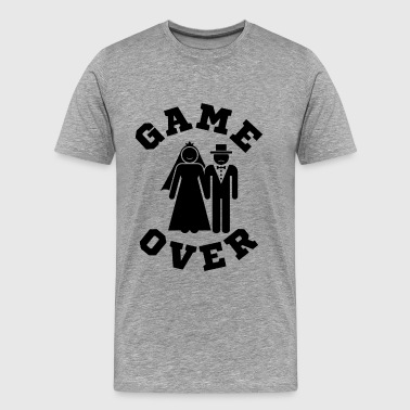 Game Over Bachelor Party Game Over Tees Funny Wedding Video Gamer Groom - Men's Premium T-Shirt